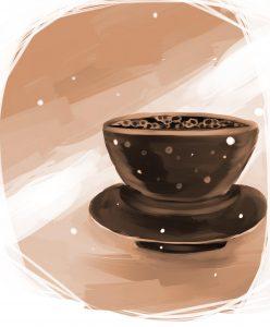天目台に載った茶碗のイメージ