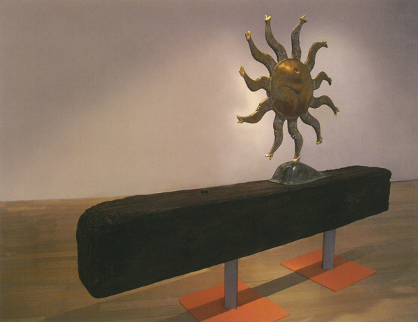 「走るお天道さま」ブロンズ、木、鉄/H146×W190×D40cm/2007~2009