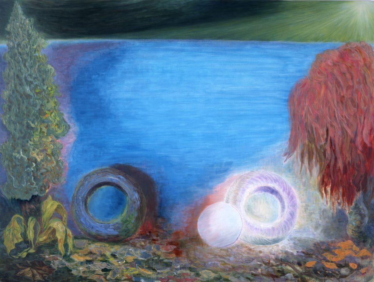 夜中に眺めるタイヤ<br /> 2009<br /> 2590×1940mm<br /> oil on canvas