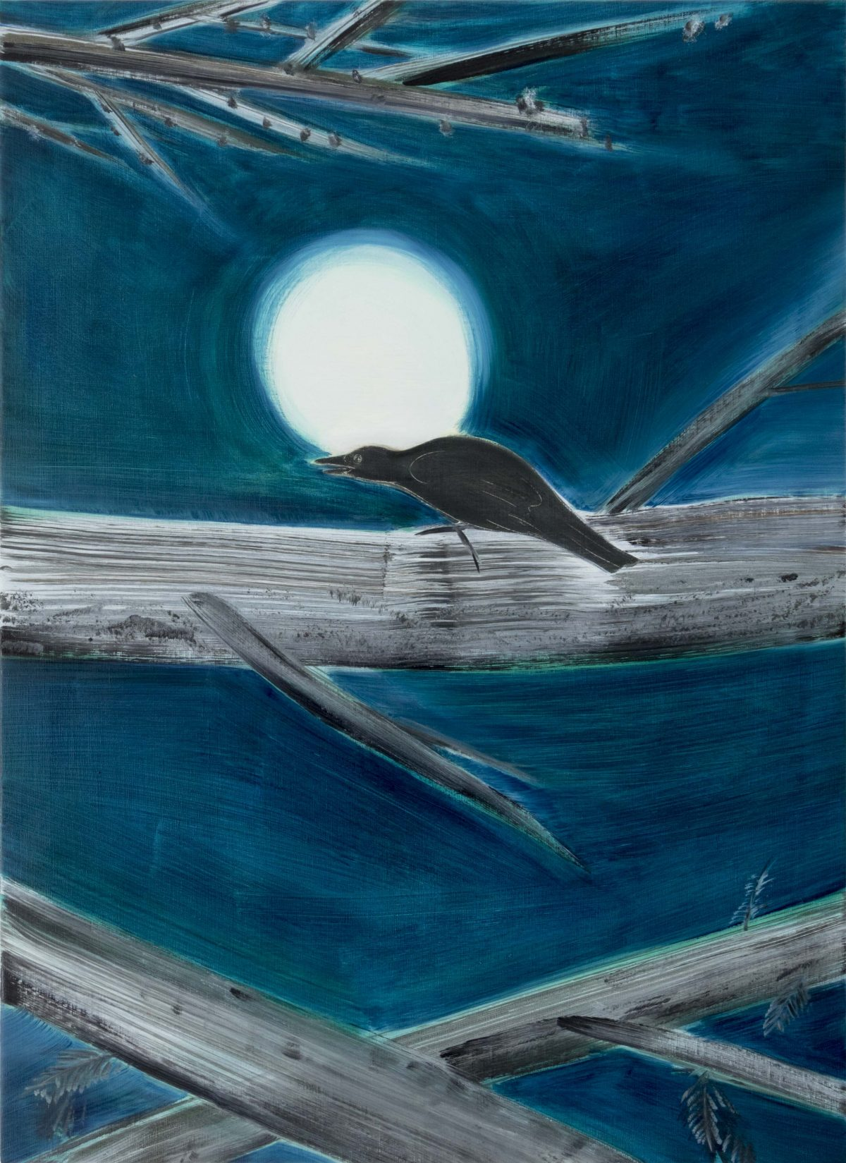 「The moon and a crow」<br /> 2020年 油彩、キャンバス 100×72.7cm