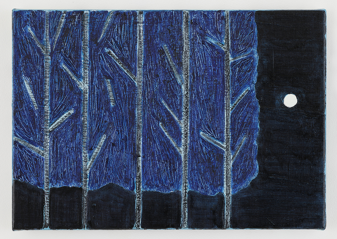 「The moon and trees」<br /> 2021年油彩、キャンバス 28×40cm