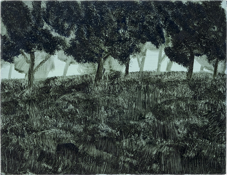 「Trees in the grass」<br /> 2020年 油彩、キャンバス 27×35cm