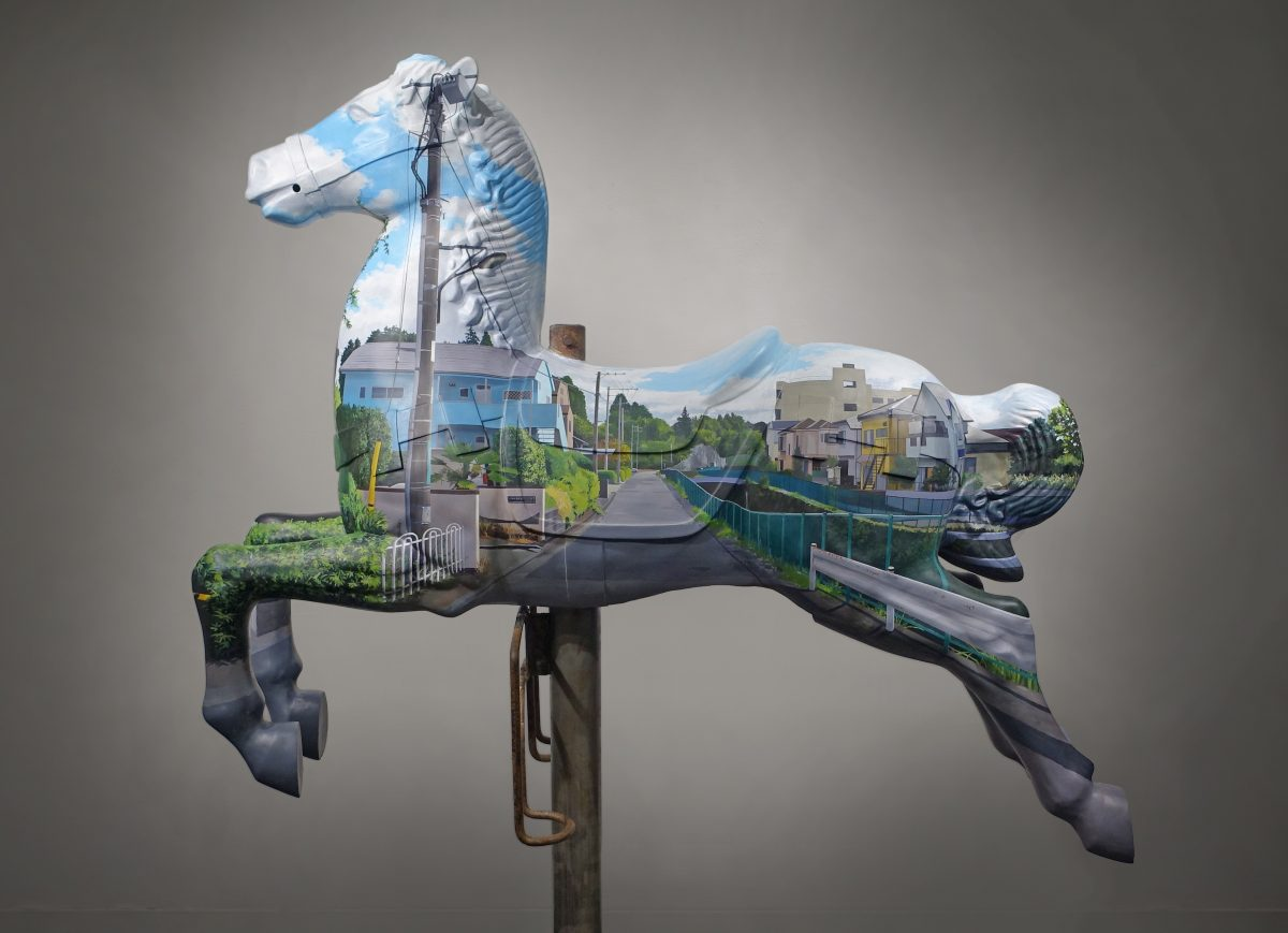 Invisible<br /> Acrylics on Old carousel horse<br /> 140×110×40cm <br /> (2015)