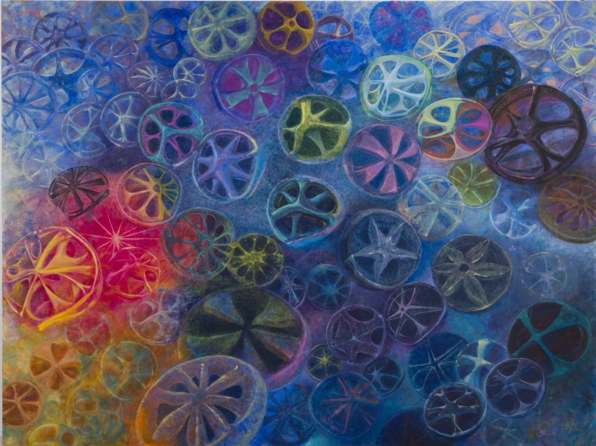 Wheels<br /> 2014<br /> 2910×2182mm<br /> oil on canvas