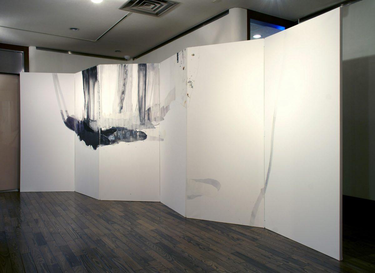五十部の細道図より「冬」 2007年, 紙に岩絵の具、水彩、他, 200×540cm