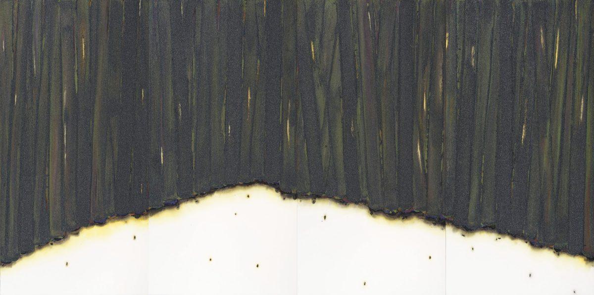四方四季より「冬」 2018年, 紙に岩絵の具、水彩、他, 175×351cm
