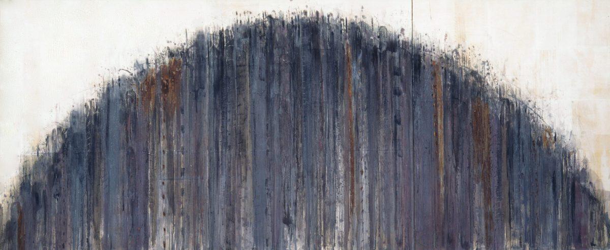 線の気韻1993-9 1993年, 紙に岩絵の具、水彩、他, 227×546cm
