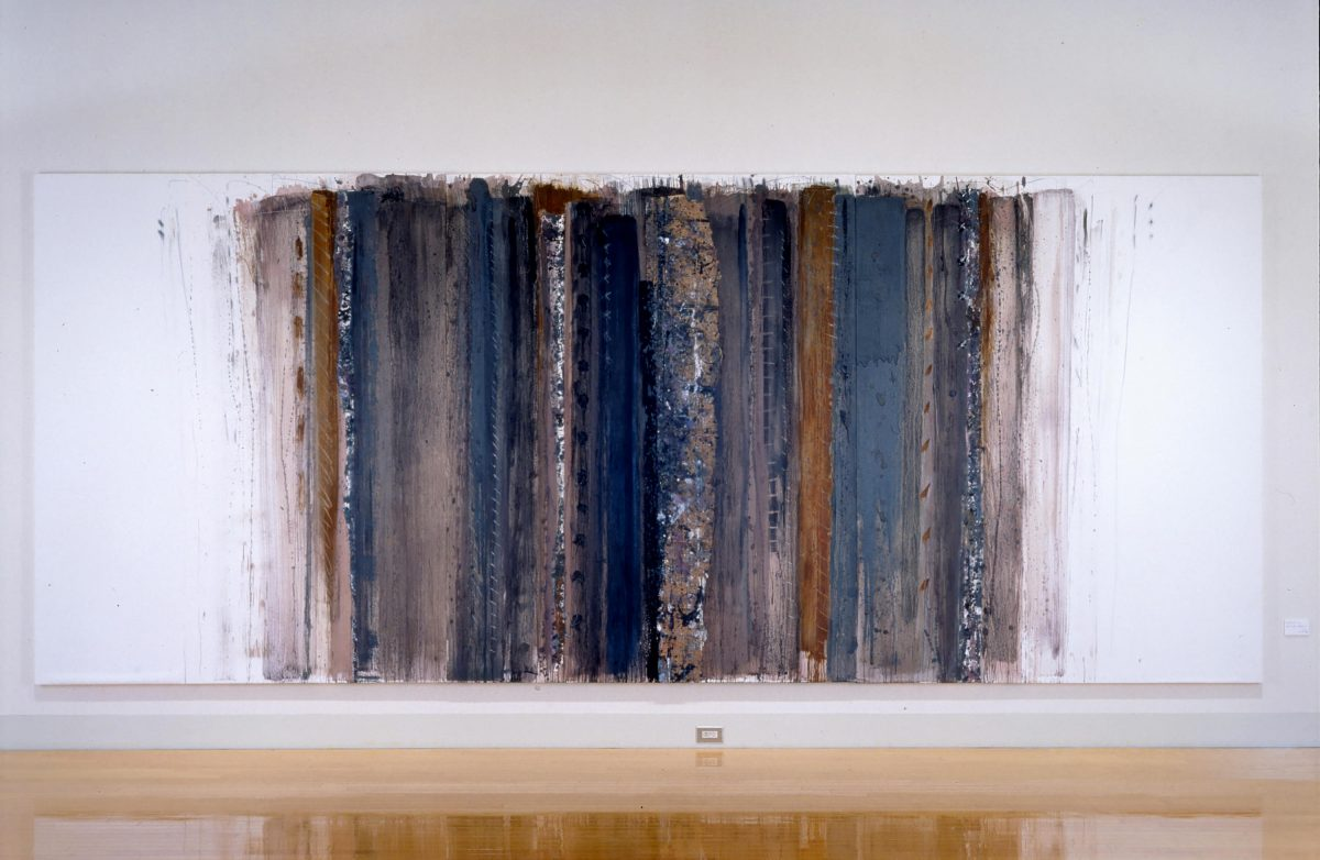 線の気韻1993-14 1993年, 紙に岩絵の具、水彩、他, 227×546cm