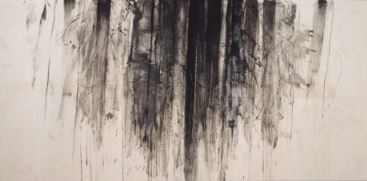 線の気韻1997-3 1997年, 紙に岩絵の具, 194×390cm