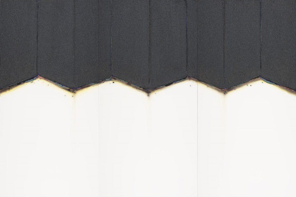 線の形象2017-2 2017年, 紙に岩絵の具、水彩、他, 200×300cm