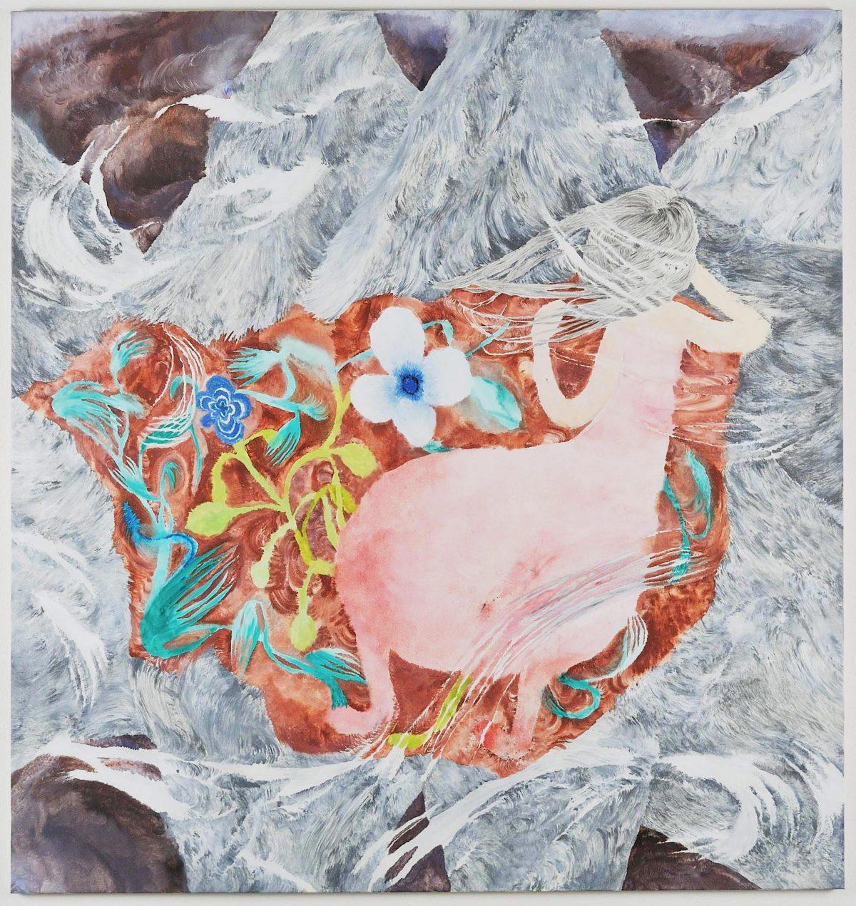 《FloweryPlanet》2009 ,190x180cm.綿布に油彩