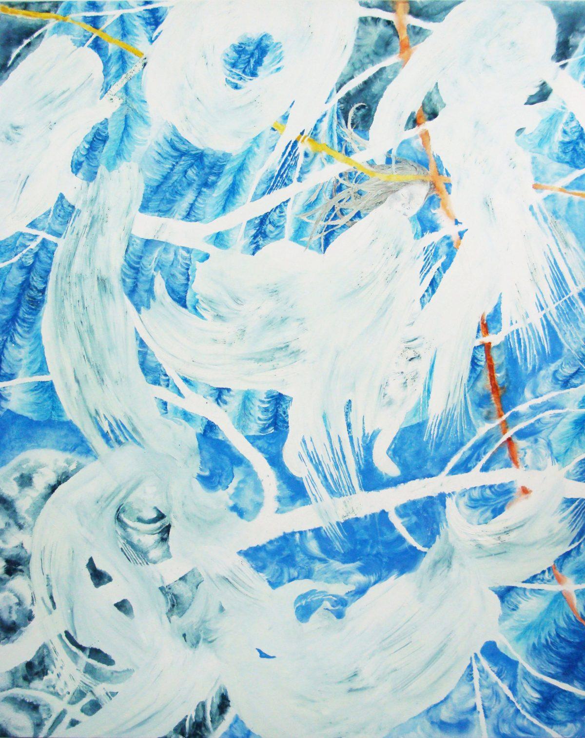 《White Coat》2009,230x190cm,綿布に油彩、色鉛筆