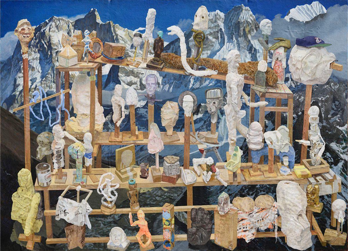 平和な村 油彩, 210x290cm, 2015