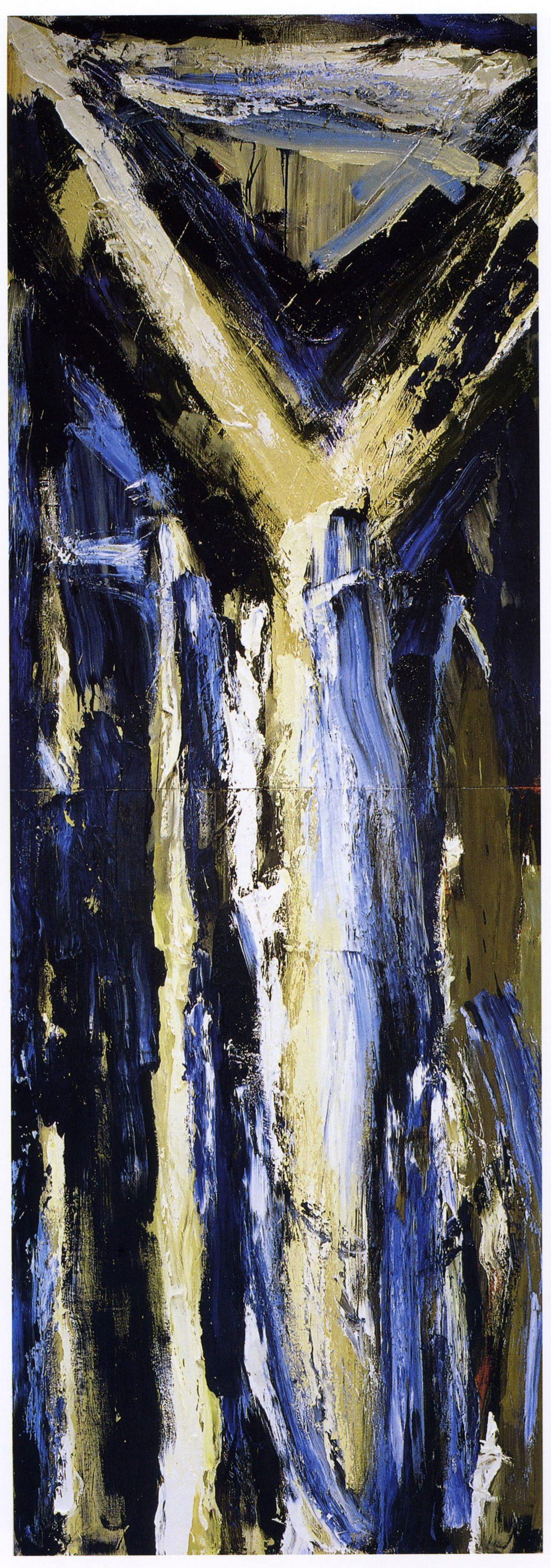〈北奥千丈〉 油彩、400×138cm、1985年