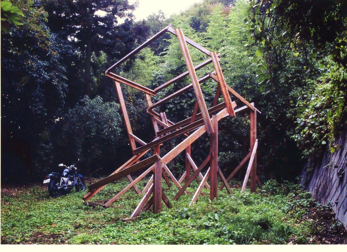 藤野町破庵(現存せず) 木材、金具、 492×406×664cm、1995年