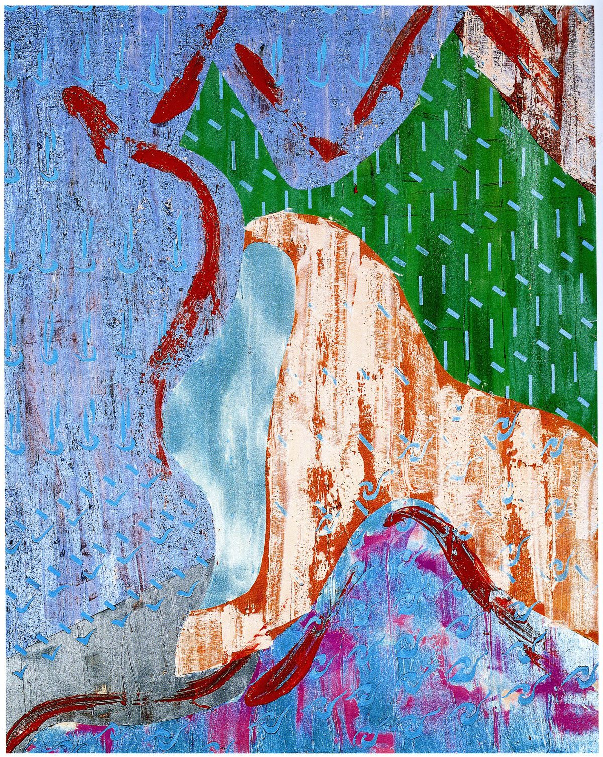 織桑鳥Ⅳ アクリル・土・メッキ箔、300×240cm、2002年