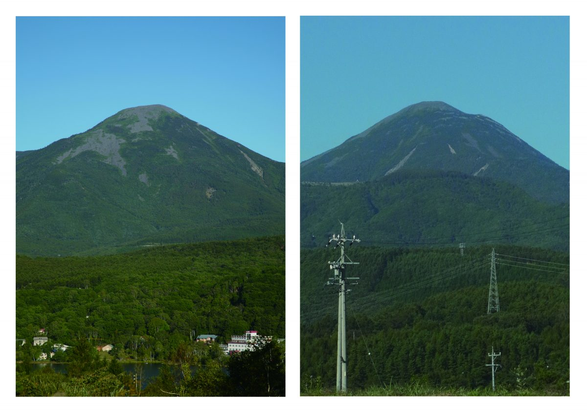 側面あるいは正面(蓼科山)/ 同寸の2点のフレーム入り写真 (発色現像方式印画)/ 各フレームサイズ52.9×41.4 / 2011
