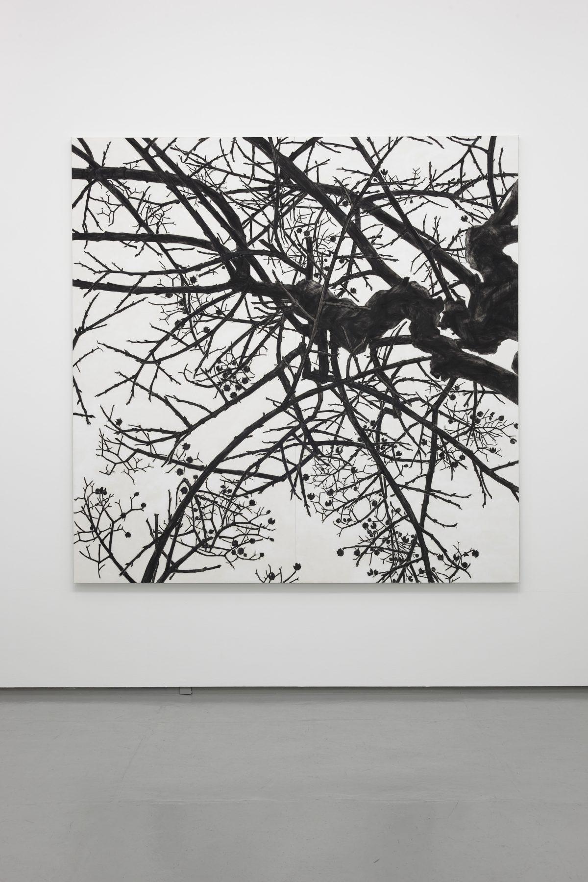 「空との距離Ⅹ」2013年 / 240×240cm / 麻紙、岩絵具 / 撮影:渡邉郁弘