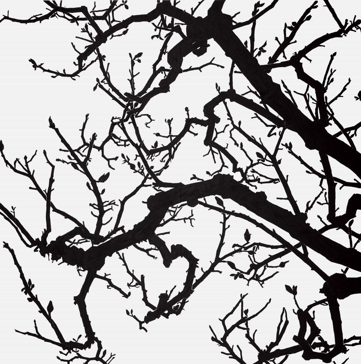 「空との距離XIII」 / 2017年 / 240cm✕240cm / 麻紙、岩絵具 / 撮影:髙橋健治