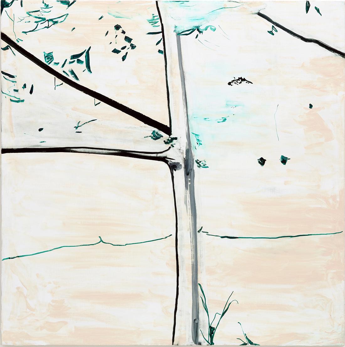 鳩が飛び立ち、驚く私<br /> 2014-2015  キャンバスに油彩<br /> 117×117cm  <br /> ©O JUN, Courtesy of Mizuma Art Gallery<br /> 撮影:宮島径